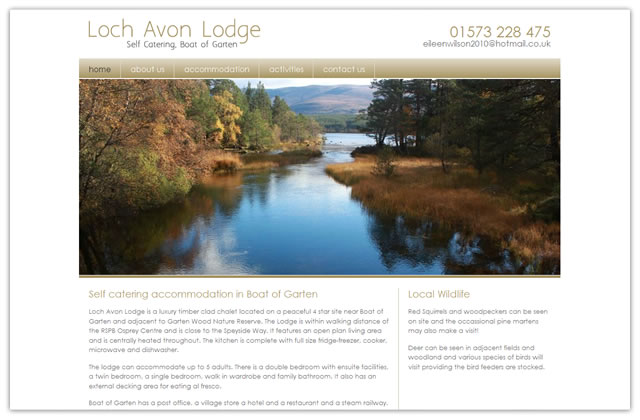 Loch Avon Lodge website