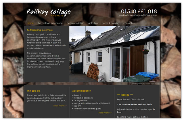 Web design for Railway Cottage Aviemore