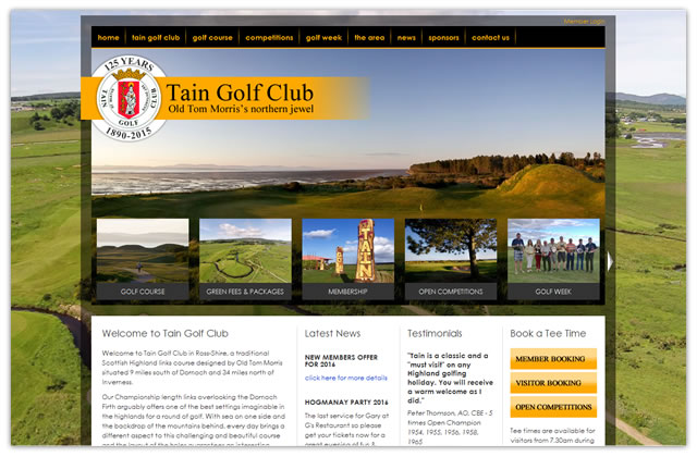 Website creation for Tain Golf Club
